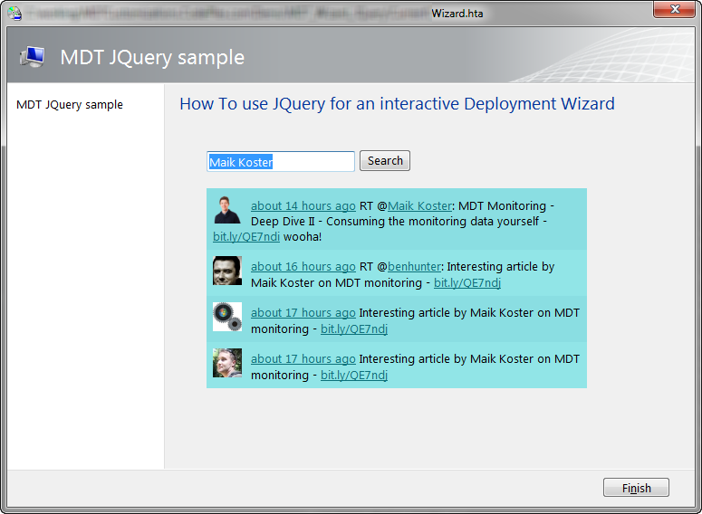 MDT Deployment Wizard goes JQuery – Combining VBScript and